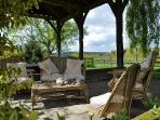 Take a break under the shade of the old barn