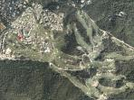 Aerial view of the Domain & the House (red spot)