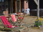Hot-tub, outdoor dining, sun loungers on south facing sun trap terrace