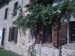 Another view of the farmhouse with grape vine
