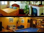 Dormitorio con chimenea y sala de juegos