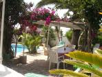 dining arbour adjacent to barbecue and pool.Surrounded by palms, bougainvillea and exotic climbers