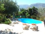 Large pool, very private with fantastic mountain views