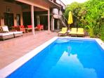 View of villa and pool from bedroom 5