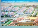 Preciosa vista aérea de la urbanización, en color