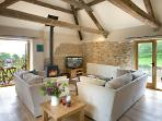 The vaulted, beamed living room: a stunning space in which to unwind