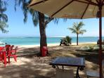 A favorite restaurant of ours  on the beach at Le Morne fresh catch of the day under £10 for 2