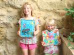 Silk painting is great for all ages. Here's what we did earlier!