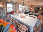 Tresillian's dining area has slate floors and beamed ceilings in a rustic setting with great vi