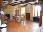 the dining area in La Vieille Ferme allows up to 24 to sit & dine together