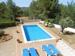 Great outdoor pool area with sun loungers, BBQ and great views