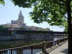 2 minutes from the flat and there are great views of the old town of Girona