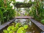 Romantic tropical garden with pond and statues, a nice place to relax or meditate