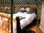 interior of the cowbed yurt
