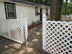 Fenced yard for you pet, lockable ga