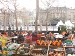 Winter market and ice rink in Place Carnot, Carcassonne.