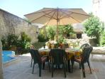 South facing, fully enclosed, private garden and patio with paddling pool
