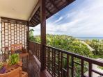 Panoramic sea vistas from the Guest MASTER private balcony