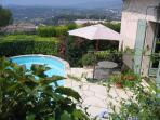 Views over towards Grasse from the pool terrace