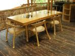 Dining table for 6 on black bamboo flooring (top floor)
