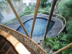 Private Plunge pool on the decking in the private garden, as seen from the second floor