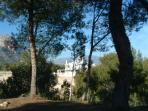 View of Villa Christra through pine trees