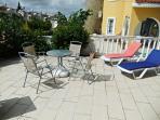 Rear garden patio for afternoon sun