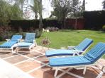 Sunshine all day, no rain in Spain in summer, plenty more sunbeds by the pool