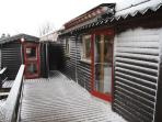 At the back in February - Sóltún our gingerbread cottage.