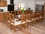 Dining table with seating for 14, extension availble for extra 2