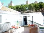 Breakfast ´Al Fresco´  under the watchful eye of the Castle Bell Tower and views of 'The Torcal'
