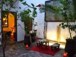 Riad Dar Zaman courtyard at night