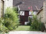 garden and half-timbered house