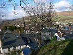 Crickhowell from the castle mound.