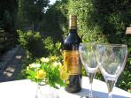 A Relaxing Glass of Wine in the small private garden.