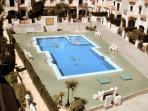 Aerial view of pool from rear terrace