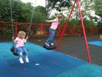 Fun time on nearby village swings.