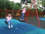 Fun time on nearby village swings.