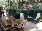 Private garden surrounded by pinewood