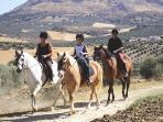 Our young guests enjoying trail riding in the Anadalucian countryside
