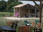 Enjoy eating and drinking  al fresco with views across the fields. Hanger with games area