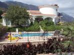 View of the pool and the mountains to the rear