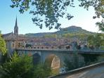The bridge at St.Antonin, walking in towards the vibrant Sunday market, foodie heaven!