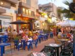 The Golden Mile: with restaurants, bars & shops 2-3 min walk away