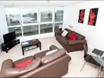 living area overlooking Belfast Lough and the Odyssey