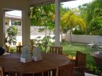 Garden by dining area - watch the hummingbirds on the Hibiscus