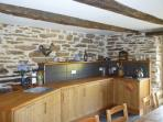 The fully fitted kitchen offers all the appliances you find at home