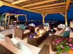 Roof terrace lounge at night
