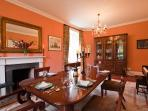 Large dining room with open fire