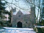 Your View of the Gatehouse as you arrive: if you arrive in snow that is!